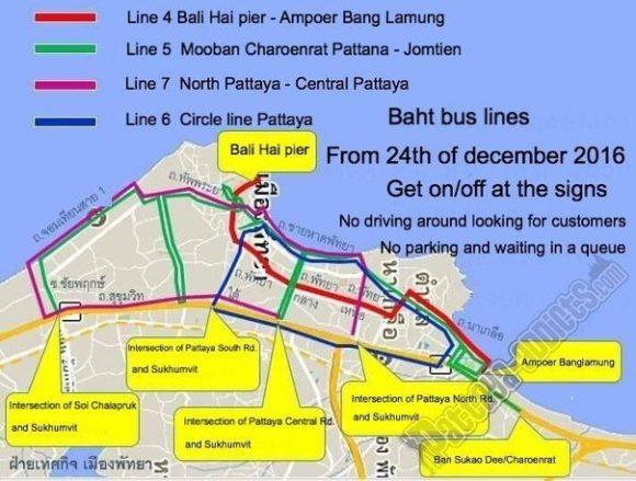 Обновленная карта маршрутов сонгтео (тук-туков) в Паттайе от 28.11.2016