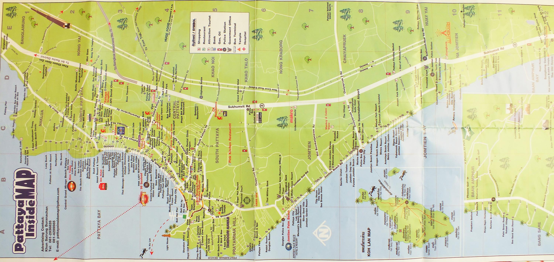 Качественная карта Паттайи с ресторанами, центрами, магазинами, банками на английском языке