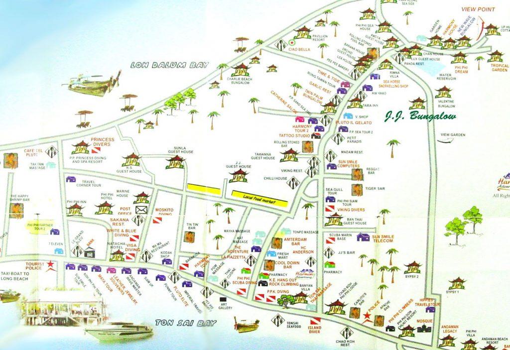 Деревня в центральной части Пхи Пхи карта