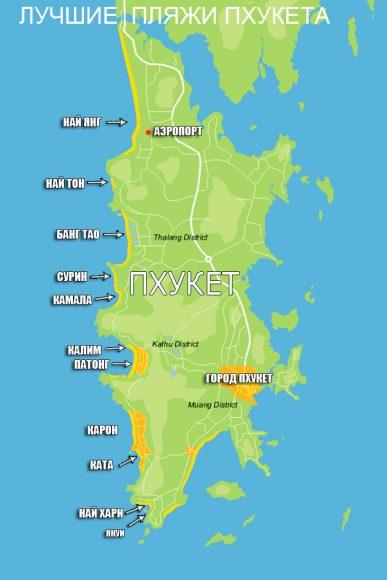 пляжи на карте Пхукета