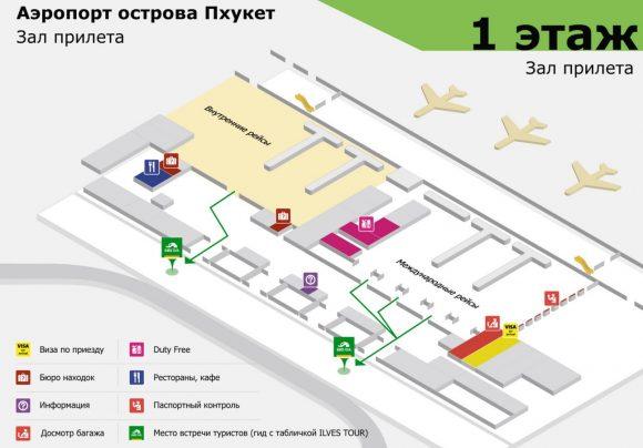 схема прилета аэропорта Пхукета 1 этаж