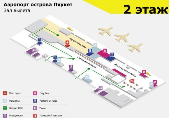схема аэропорта Пхукета 2 этаж зона вылета
